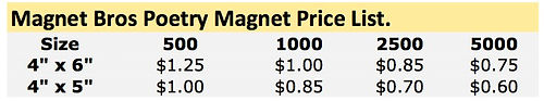 Poetry Magnet Price List