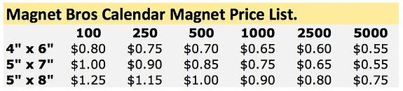 Calendar Magnet Price List Toronto Canada