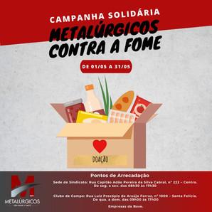 Sindicato inicia Campanha Solidária Metalúrgicos Contra a Fome