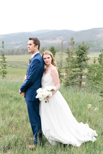 Emma Lea Floral- Purple Summer Events- Callie Hobbs Photography- Devils Thumb Ranch Colorado Wedding| White Bridal Bouquet | Garden Rose | Rose | Clematis | Bride and Groom | Navy |