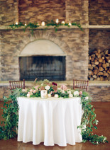 Emma Lea Floral - Cassidy Brooke Photography- Spruce Mountain Ranch Wedding - Denver Colorado Fine Art Floral Design - Wedding and Event Florist | Sweetheard Table Floral Arrangement | Garden Rose | Ranunculus | Chocolate Lace | Dahlia | Candles | Mauve | White | Burgundy | Blush | Garland  | Fireplace | Greenery