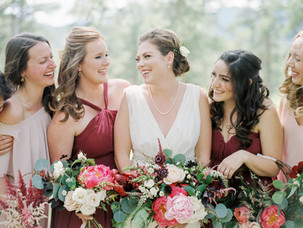 Emma Lea Floral - Connie Whitlock- Della Terra Wedding- Colorado | Peony| Dahlia| Garden Rose| Scabiosa| Bridal Bouquet | Pink, Burgundy, Blush| Bridesmaids | Bridal Party |