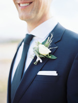 Emma Lea Floral- Purple Summer Events- Kristen Pierson Photography- Devils Thumb Ranch Colorado Wedding   Groom   Boutonniere   White Spray Rose   Pampas Grass   Eucalyptus  