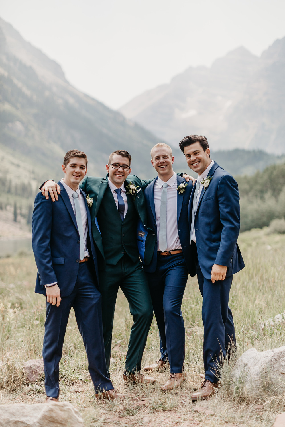 Mallory & David Aspen Elopement - Emma Lea Floral- Our Two Hearts Photography - Maroon Bells - Aspen Wedding - Denver Colorado Fine Art Floral Design - Luxury Wedding and Event Florist - Anemone | Rose  | Astrantia | Hops | Jasmine | White, Ivory, Navy | Mountain Wedding | Organic | Groomsman | Boutonnieres |