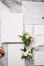 Emma Lea Floral- The Styled Soiree- Sara Lynn Photography- Cherokee Ranch And Castle Wedding | Denver Colorado Fine Art Floral Design - Wedding and Event Florist | Invitations | Boutonniere | Flatlay | Silk Ribbon | Wax Seal |