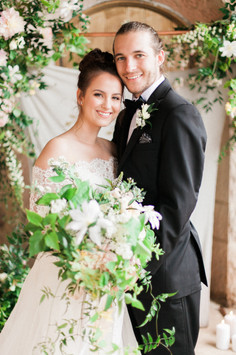 Emma Lea Floral- The Styled Soiree- Sara Lynn Photography- Cherokee Ranch And Castle Wedding | Denver Colorado Fine Art Floral Design - Wedding and Event Florist | Bridal Bouquet | Clematis | Garden Rose | Jasmine | Garden Style | Groom |