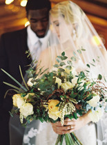 Emma Lea Floral- The Styled Soiree- Carrie King Photography- Wild Canyon Ranch Winter Wedding | Veil | Garden Rose | Eucalyptus | Tulip | Ranunculus | Green, White, Gold | Groom | Bride |