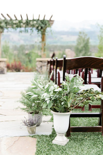 Emma Lea Floral- Purple Summer Events- Callie Hobbs Photography- Devils Thumb Ranch Colorado Wedding | Potted Herbs | Lavender | Olive | Aisle Arrangements | Ceremony Flowers |