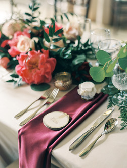 Emma Lea Floral - Connie Whitlock- Della Terra Wedding- ColoradoEmma Lea Floral - Connie Whitlock- Della Terra Wedding- Colorado  | Peony | Garden Rose | Ruscus | Dahlia | Pink, Burgundy, Blush | Floral Runner |
