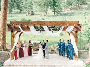 Emma Lea Floral - Connie Whitlock- Della Terra Wedding- Colorado | Mountain Wedding | Ceremony Pergola | Blush, Pink, Burgundy, Evergreen|