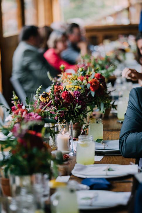 Bea & Kelly Wedding - Emma Lea Floral- Purple Summer Events- Non Native Photo- Piney River Ranch - Vail Wedding - Denver Colorado Fine Art Floral Design - Luxury Wedding and Event Florist - Dahlia | Zinnia  | Ranunculus | Snapdragon | Cactus | Strawflower | Red, Purple, Orange, Yellow, Red | Mountain Wedding | Wildflower |