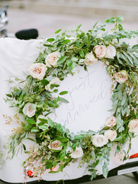 Emma Lea Floral- The Styled Soiree- Decorus Photography- Denver Civic Center Elopement | Rose | Garden Rose | Navy Berry | Blush, Ivory, Lavender | Greenery | Wreath | Petty Cab | City Wedding | Bride | Groom |