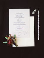 Emma Lea Floral - Purple Summer Events- Kristen Pierson Photography- Space Gallery Denver Colorado Wedding | Flat Lay | Boutonniere | Invitation | Bridal Details |