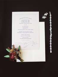 Emma Lea Floral - Purple Summer Events- Kristen Pierson Photography- Space Gallery Denver Colorado Wedding | Flat Lay | Boutonniere | Invitation | Bridal Details |