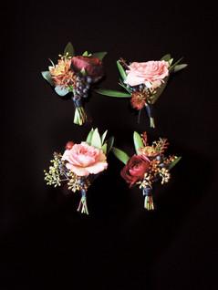 Emma Lea Floral - Purple Summer Events- Kristen Pierson Photography- Space Gallery Denver Colorado Wedding | Boutonniere | Flatlay | Spray Rose | Ranunculus | Viburnum Berry |