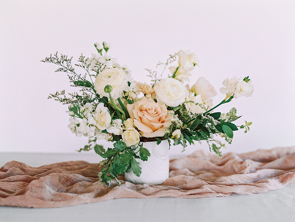 Emma Lea Floral - A La Carte Shop - Online Order Wedding Flowers - Tara Bielecki Photography - Affordable, Simplified, Beautiful Arrangements - Medium Centerpiece - Blushing Neutrals