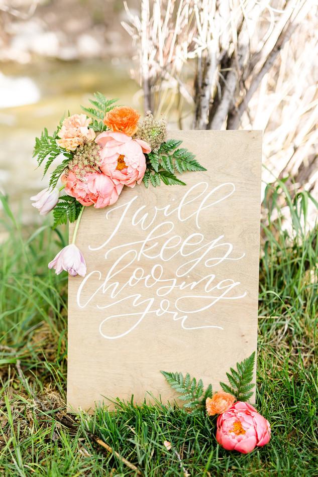 Emma Lea Floral- Sarah Jayne Photography- Mt. Princeton Colorado Wedding | Peony | Ranunculus | Tulip | Foxglove | Clematis | Pink, Purple, Peach, Burgundy |  Mountain Wedding |  Hand Lettered Signage |