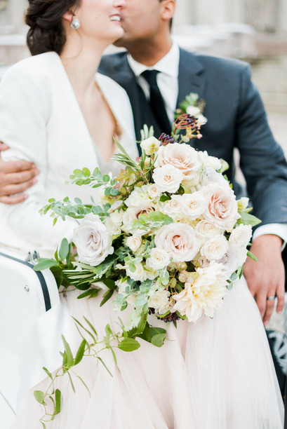 Emma Lea Floral- The Styled Soiree- Decorus Photography- Denver Civic Center Elopement | Rose | Garden Rose | Navy Berry | Blush, Ivory, Lavender | Greenery | Bouquet | Bride | Groom |