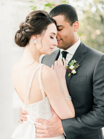 Emma Lea Floral- The Styled Soiree- Decorus Photography- Denver Civic Center Elopement | Rose | Garden Rose | Navy Berry | Blush, Ivory, Lavender | Greenery | Boutonniere | Bride | Groom |