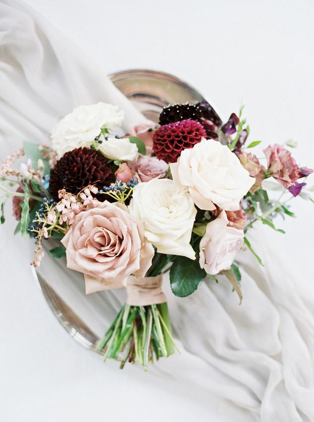 Emma Lea Floral- The Styled Soiree- Sara Lynn Photography- Devils Thumb Ranch Colorado Wedding  | Flatlay | Bouquet Inspiration | Burgundy, Blush, Ivory, Blue | Garden Rose | Dahlia | Sweetpea | Andromeda |