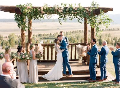 Emma Lea Floral - Cassidy Brooke Photography- Spruce Mountain Ranch Wedding Denver Colorado Fine Art Floral Design - Wedding and Event Florist | Ceremony Arch - Pergola Greenery and Florals | Eucalyptus | Garden Roses | Bohemian | Garden Style | Lush, Natural Floral Design | Bride & Groom |