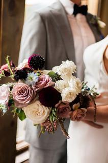 Emma Lea Floral- The Styled Soiree- Sara Lynn Photography- Devils Thumb Ranch Colorado Wedding  | Bouquet Inspiration | Burgundy, Blush, Ivory, Blue | Garden Rose | Dahlia | Sweetpea | Andromeda |