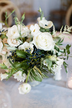 Emma Lea Floral- Purple Summer Events- Callie Hobbs Photography- Devils Thumb Ranch Colorado Wedding | Greenery | White | Blush | Floral Centerpiece | Ranunculus | Garden Rose | Olive | Spray Rose | Anemone | Navy Berries |