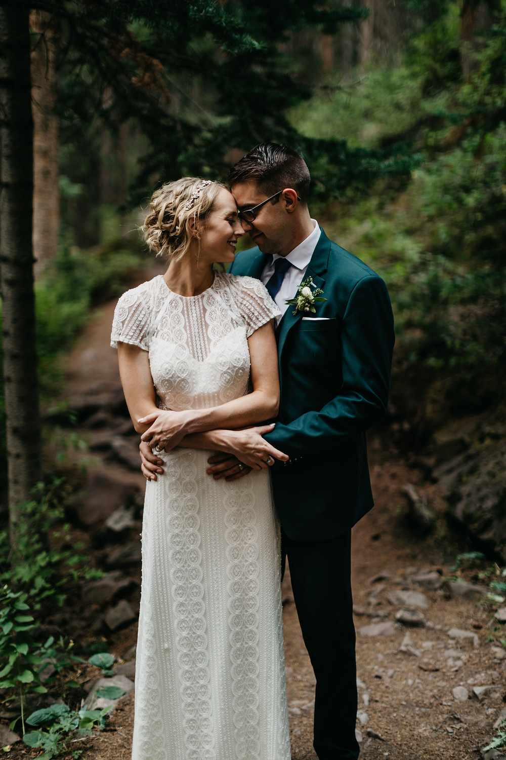 Mallory & David Aspen Elopement - Emma Lea Floral- Our Two Hearts Photography - Maroon Bells - Aspen Wedding - Denver Colorado Fine Art Floral Design - Luxury Wedding and Event Florist - Anemone | Rose  | Astrantia | Hops | Jasmine | White, Ivory, Navy | Mountain Wedding | Organic |