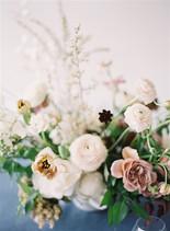 Emma Lea Floral- The Sentient Workshop- Carrie King Photography   Hellebore   Tulip   Garden Rose   Ranunculus   Spirea   Cream, Mauve, Antique Purple, Burgundy   Centerpiece  