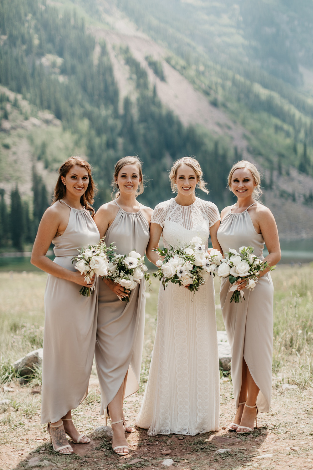 Mallory & David Aspen Elopement - Emma Lea Floral- Our Two Hearts Photography - Maroon Bells - Aspen Wedding - Denver Colorado Fine Art Floral Design - Luxury Wedding and Event Florist - Anemone | Rose  | Astrantia | Hops | Jasmine | White, Ivory, Navy | Mountain Wedding | Organic | Bride | Bridal Party |