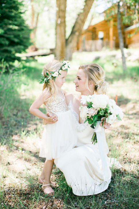 Emma Lea Floral- The Styled Soiree- Maribeth Photography- Buena Vista Colorado Wedding  | Bride | Flower Girl | Bridal Bouquet | Flower Crown | White, blush, mauve | Peony | Garden Rose | Clematis | Spray Rose |