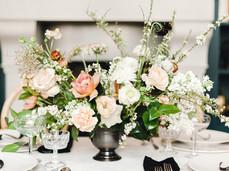 Emma Lea Floral- Sara Brown Weddings- Sara Lynn Photography- Stefanie Hofmeister Lettering & Design- Hotel Teatro | Denver Colorado Fine Art Floral Design - Wedding and Event Florist | Lush Floral Centerpiece | Garden Rose | Ranunculus | Carnation | Spirea | Couture Colorado |