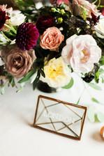 Emma Lea Floral- The Styled Soiree- Sara Lynn Photography- Devils Thumb Ranch Colorado Wedding  | Floral Centerpiece | Dahlia | Garden Rose | Burgundy, Blush, Ivory, Blue | Mountain Wedding |