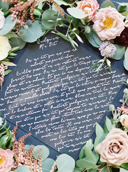 Emma Lea Floral- The Styled Soiree- Sara Lynn Photography- Devils Thumb Ranch Colorado Wedding  | Calligraphy | Garden Rose | Eucalyptus |