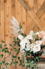 Emma Lea Floral- Purple Summer Events- Kristen Pierson Photography- Devils Thumb Ranch Colorado Wedding   | Ceremony Floral Arrangement | Pampas Grass | Garden Rose | Smilax | Rustic Stand | Mountain Wedding |