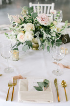 Emma Lea Floral- Sara Brown Weddings- Callie Hobbs Photography- Denver Colorado Fine Art Floral Design - Luxury Wedding and Event Florist - The Manor House    Garden Rose   Eucalyptus   Anemone   Ranunculus   Dusty Miller   Astilbe   Green, White, blush, beige   Lush Floral Centerpiece   Gold Footed Vase   Greenery Sprig Placesetting  