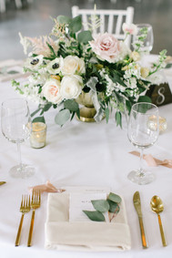 Emma Lea Floral- Sara Brown Weddings- Callie Hobbs Photography- Denver Colorado Fine Art Floral Design - Luxury Wedding and Event Florist - The Manor House  | Garden Rose | Eucalyptus | Anemone | Ranunculus | Dusty Miller | Astilbe | Green, White, blush, beige | Lush Floral Centerpiece | Gold Footed Vase | Greenery Sprig Placesetting |