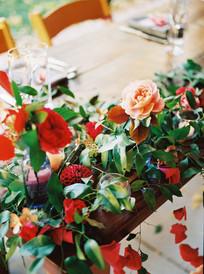 Emma Lea Floral- Purple Summer Events- Tara Bielecki Photography- Lyons Farmette Colorado Wedding  | Garden Rose | Sweetheart Table | Paper Garland | Dahlia |