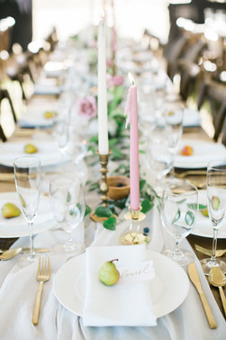 Emma Lea Floral- The Styled Soiree- Maribeth Photography- Buena Vista Colorado Wedding | Taper Candles | Pear | Smilax | Airy Greenery Garland | White | Blush | Mauve | Chiffon Runner |