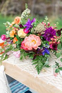 Emma Lea Floral- Sarah Jayne Photography- Mt. Princeton Colorado Wedding | Peony | Ranunculus | Tulip | Foxglove | Clematis | Pink, Purple, Peach, Burgundy |  Mountain Wedding |  Centerpiece | Boho Beer Reception |