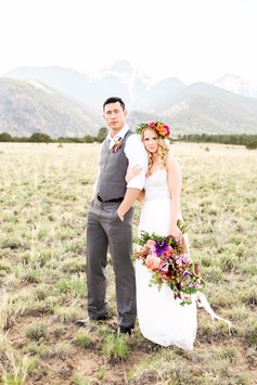 Emma Lea Floral- Sarah Jayne Photography- Mt. Princeton Colorado Wedding | Peony | Ranunculus | Tulip | Foxglove | Clematis | Pink, Purple, Peach, Burgundy | Bridal Bouquet | Mountain Wedding |  Flower Crown | Groom |