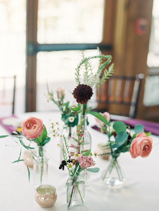 Emma Lea Floral - Connie Whitlock- Della Terra Wedding- Colorado  | Bud Vase Centerpiece Grouping | Burgundy, Pink, Blush| Garden Rose | Dahlia |