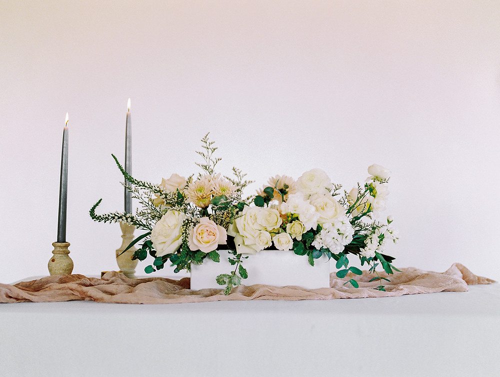 Emma Lea Floral - A La Carte Shop - Online Order Wedding Flowers - Tara Bielecki Photography - Affordable, Simplified, Beautiful Arrangements - Long + Low Centerpiece - Blushing Neutrals