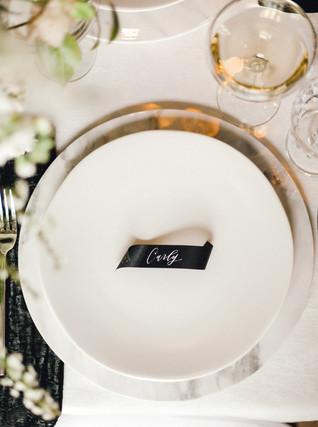 Emma Lea Floral- Sara Brown Weddings- Sara Lynn Photography- Stefanie Hofmeister Lettering & Design- Hotel Teatro | Denver Colorado Fine Art Floral Design - Wedding and Event Florist | Minimal Placesetting | Modern Caligraphy | Place Card | Couture Colorado |