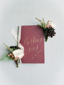 Emma Lea Floral - Connie Whitlock- Della Terra Wedding- Colorado  | Mountain Wedding | Boutonniere | Burgundy | Pepperberry | Scabiosa| Vows| Groom's Detals | Flatlay |