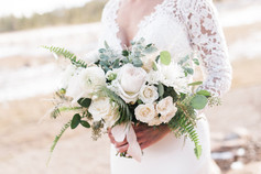 Emma Lea Floral- Purple Summer Events- Kristen Pierson Photography- Devils Thumb Ranch Colorado Wedding  | Greenery With White Flowers | Eucalyptus | Sword Fern | Garden Rose | Ranunculus | Spray Rose | Pampas Grass | Mountain Wedding | Bridal Bouquet |