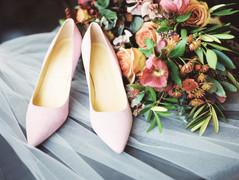 Emma Lea Floral - Purple Summer Events- Kristen Pierson Photography- Space Gallery Denver Colorado Wedding | Bridal Bouquet Details | Shoes | Veil | Hellebore | Olive | Bay | Sweetpea | Astrantia | Rose | Purple, Mauve, Burgundy |