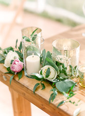 Emma Lea Floral- Purple Summer Events- Lisa O'dwyer Photography- Boulder Private Estate Colorado Wedding  | Sweetheart Table | Candles in Glass | White and Lavender | Eucalyptus |