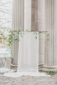 Emma Lea Floral- Stefanie Hofmeister - The Styled Soiree- Decorus Photography- Denver Civic Center Elopement | Rose | Garden Rose | Navy Berry | Blush, Ivory, Lavender | Greenery | Ceremony | Hand Lettered Draping | Vows |