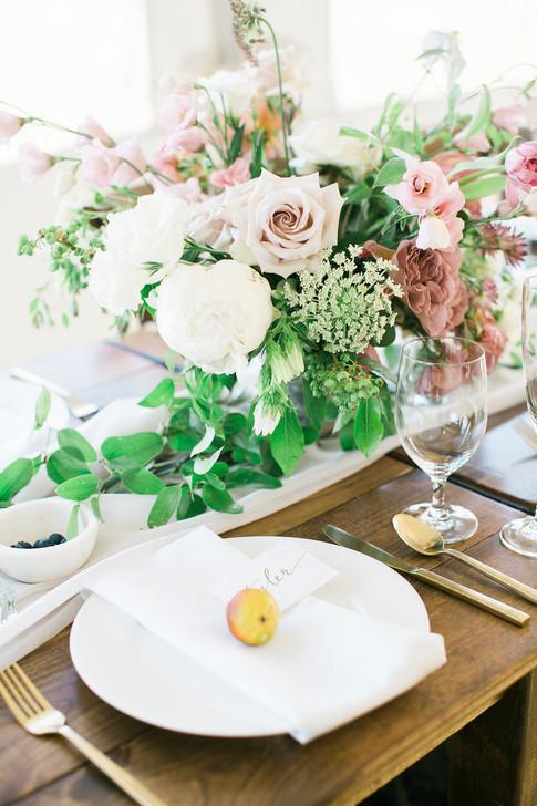 Emma Lea Floral- The Styled Soiree- Maribeth Photography- Buena Vista Colorado Wedding   | Garden Rose | Lisianthus | Floral Centerpiece | White, Mauve, Blush | Farm Table | Peony | Smilax | Blueberry |
